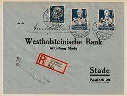 H 40) DR 1934 Mi# 563 (2), 514 MiF R-Brief Horneburg Nach Stade: Nothilfe Bildhauer - Germany
