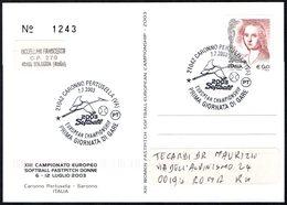 ITALIA CARONNO PERTUSELLA (VA) 2003 - CAMPIONATO EUROPEO SOFTBALL FASTPITCH DONNE - CARTOLINA UFFICIALE VIAGGIATA - Baseball