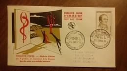 Premier Jour  FDC..   PHILIPPE  PINEL .. 1958 .. JONQUIERES  .. Medecin Alieniste - FDC