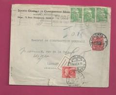 Lettre De 1951 Pour La Suisse - YT N° 809 X 3, Taxe N° 86 - Timbre Taxe De Suisse N°73 - Storia Postale
