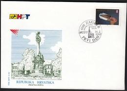 Croatia Zagreb 1992 / Air Mail / Zagreb - Osijek / Airplanes / Church / FDC - Croatie