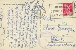 1951 , FRANCIA , TARJETA POSTAL CIRCULADA , PARIS - VIENA , CENSURA , PLACE DE LA CONCORDE - Francia