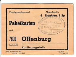 H 169) BRD Bahnpost Frankfurt Am Main - Basel Zug 14179 12.12.81 Stempel 'Nachträglich Entwertet' Paketkarten Offenburg - BRD