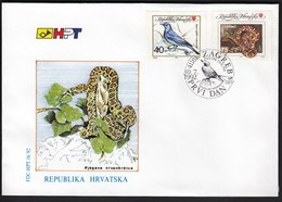 Croatia Zagreb 1992 / Protecting Nature / Animals / Snake Spotted Red Cloth / Bird Rocky Mountains Blue Rock Thrush /FDC - Croatie