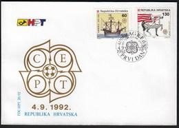 Croatia Zagreb 1992 / Europa CEPT / 500 Years Discovery Of America / Ship / Horse / Flag / FDC - Croatie