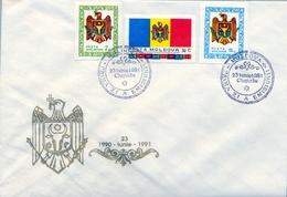 1991 , MOLDAVIA / MOLDOVA , SOBRE DE PRIMER DIA , PRIMER ANIVERSARIO PROCLAMACIÓN DE LA REPÚBLICA , ESCUDOS , BANDERAS - Moldavia