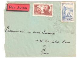ABIDJAN Côte D'Ivoire Lettre Etiquette Par Avion 65c Binger 2 F Rapide 65c Binger Yv 139 128 Ob Daguin Flamme 1938 - Briefe U. Dokumente