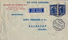 1937 PORTUGAL , OPORTO - NIJMEGEN , CORREO AÉREO VIA LUFTHANSA , TRÁNSITOS DE LISBOA Y PARIS - 1910-... República