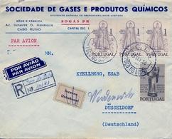 1950 PORTUGAL , POÇO DO BISPO - DÜSSELDORF , CERTIFICADO POR VIA AÉREA , TRÁNSITO LISBOA , LLEGADA , DESCONOCIDO - 1910-... República