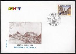 Croatia Zagreb 1993 / 800 Years Of Town Krapina / Monuments / FDC - Croatie