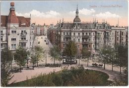 STETTIN Friedrich Karl Platz Vogelschau Strassenbahn Tram Pferde Wagen Gelaufen 6.7.1917 - Pommern