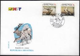 Croatia Zagreb 1993 / Fauna / Animals / Kopacki Rit / Deer, White-tailed Eagle / FDC - Croatie