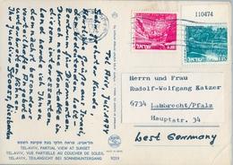 1974 , ISRAEL , TEL AVIV - LAMBRECHT , TARJETA POSTAL CIRCULADA , TEL - AVIV , PARTIAL VIEW AT SUNSET - Cartas
