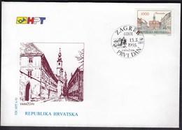 Croatia Zagreb 1993 / Croatian Town Varazdin / Church / FDC - Croatie
