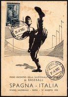 ITALIA 1952 - PRIMO INCONTRO DELLA NAZIONALE AZZURRA DI BASEBALL - ROMA: ITALIA Vs. SPAGNA - CARTOLINA MAXIMUM - Baseball