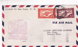 PRIMEIRO VOO CORREIO AEREO LISBON TO SAN JUAN, PR. 2 COLOR STAMP YEAR 1941, PORTUGAL - BLEUP - Aéreo