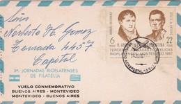 3 JORNADA RIOPLATENSE VUELO CONMEMORATIVO BUENOS AIRES ~MONTEVIDEO AÑO 1967 - BLEUP - Aéreo