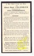 DP Im. Mort. - Albert R. Colombier 28j. ° Geluwe Wervik BE 1902 † Bousbecque Busbeke FR Nord 1931 X A. Vandekerckhove - Images Religieuses