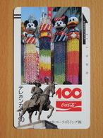 Japon Japan Free Front Bar, Balken Phonecard / 110-9654 / 100Centenial / Disney Coca Cola / Mint Neuve Neu RRR - Disney