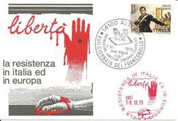 ITALIA - 1975 ASTI Timbro Rosso Resistenza In Italia E In Europa Su Cart.spec. Con 2 Ann. 17^ Giorn. Francobollo - WO2
