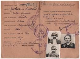 CARTE De CIRCULATION TEMPORAIRE.CHARLEVILLE (08) VITTEL (88) CACHETS GENDARMERIE MIRECOURT (88)1939. - Documents Historiques