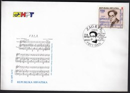 Croatia Zagreb 1993 / Vlaho Paljetak / Music / Composer / FDC - Croatie