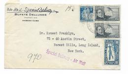 Kuba Cuba Air Mail Habana To NY USA Special Delivery - Luftpost