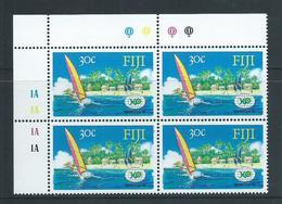 Fiji 1988 30c World Expo Year Marginal Block Of 4 With Plate Numbers MNH - Fidji (1970-...)