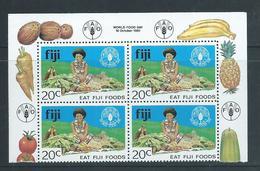 Fiji 1981 20c FAO Food Marginal Block Of 4 With Inscriptions MNH - Fidji (1970-...)