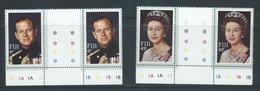 Fiji 1982 QEII Royal Visit Set Of 2 Marginal Gutter Pairs With Plate Numbers MNH - Fidji (1970-...)