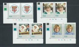 Fiji 1982 Princess Diana Birthday Set 4 Matched Marginal Pairs With Plate Numbers MNH - Fidji (1970-...)