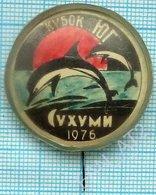 USSR / Badge / Soviet Union / RUSSIA / Abkhazia / Swimming. Fauna. Dolphins. Sukhumi. 1976 - Swimming