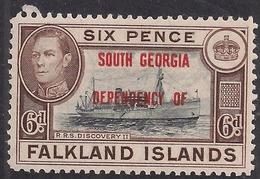 Falkland Islands Ovpt South Georgia 1944 KGV1 6d Umm SG B6 ( D892 ) - Falkland Islands