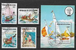 COSTA D'AVORIO   1982 ANNIVERSARIO DEGLI SCAUT YVERT. 613-616+BF.22 USATA - Costa D'Avorio (1960-...)