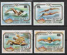 COSTA D'AVORIO   1983 POSTA AEREA PREOLIMPICA DI NUOTO YVERT. 82-85 USATA VF - Costa D'Avorio (1960-...)