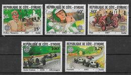 COSTA D'AVORIO   1981 ANNIVERSARIO GRAN PREMIO AUTOMOBILISTICO YVERT. 593-597 USATA VF - Costa D'Avorio (1960-...)