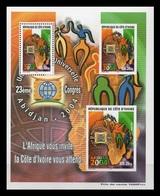 Ivory Coast 2001 Mih. 1287A 1288B/89B (Bl.35) UPU Congress In Abidjan MNH ** - Côte D'Ivoire (1960-...)