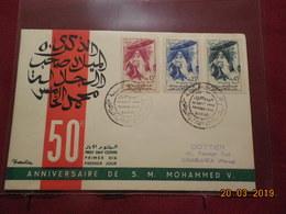 Lettres (FDC) De 1959 ( 50eme Anniversaire De S.M.Mohammed V) - Marruecos (1956-...)