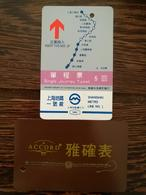 Shanghai Metro Ticket,single Journey Ticket,map Of SH Metro Line No.1,used(earlier Card,backside Accord Watch Ad.) - China