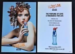 RARE MOSCHINO I LOVE LOVE PERFUME CARD AUSTRALIA - Modern (from 1961)