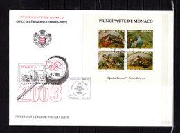 """(Faciale = 5 €) """" LES QUATRE SAISONS """" Sur Enveloppe 1er Jour Grd Format De MONACO De 2003  N° YT BF 87. Parf état. FDC - FDC"""