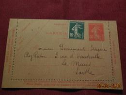 Entier Postal Carte Lettre à Destination Du Mans - Ganzsachen