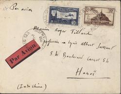 YT Ae 6 + 262 T2 CAD Paris 123 R D'Anjou 11 7 1933 Par Avion Pour Hanoï Indochine - Marcofilia (sobres)