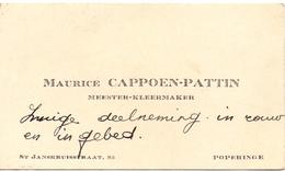 Visitekaartje - Carte Visite - Meester Kleermaker Maurice Cappoen - Pattin - Poperinge - Cartes De Visite