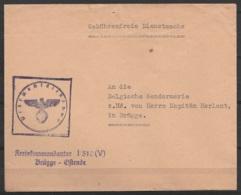 "L. Franchise ""Gebührenfreie Dienstsache"" Pour Le Capitaine HERLANT à BRUGGE - Cachet Kreiskommandantur I/510(V) Brügge - - WW I"