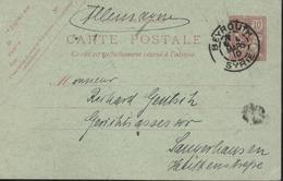 Entier Mouchon Retouché Levant 10c Rose S CP Verte Sans Date CAD Beyrouth Syrie 4 Mars 10 Bureau Français à L'étranger - Levant (1885-1946)