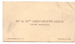 Visitekaartje - Carte Visite - Velos Bercley Mr & Mme Devos - Swaels - Poperinge - Cartes De Visite