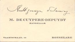 Visitekaartje - Carte Visite - Handelaar M. De Cuypere - Depuydt - Roeselare - Visiting Cards
