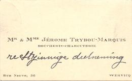 Visitekaartje - Carte Visite - Boucherie Charcuterie Mr & Mme Jérome Trybou - Marquis - Wervik - Visiting Cards