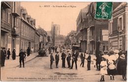 AULT-LA GRANDE RUE ET L'EGLISE - Ault
